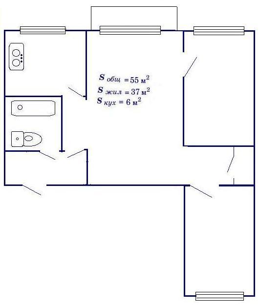 План-схема двухкомнатной