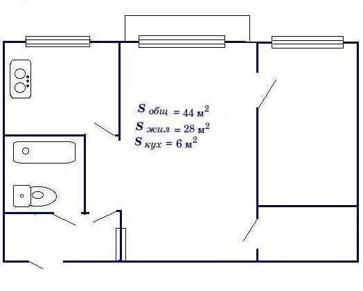 План-схема трехкомнатной