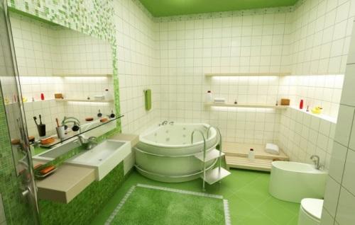 Ванна белой плиткой
